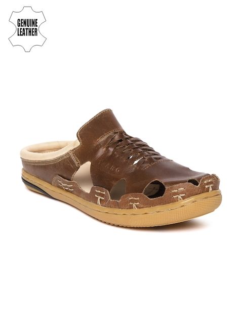 tZaro Men Brown Braided Leather Handmade Clogs