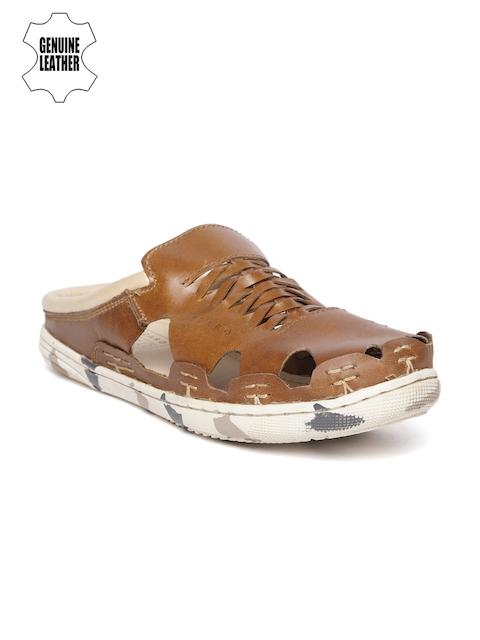 tZaro Men Tan Brown Braided Leather Handmade Clogs