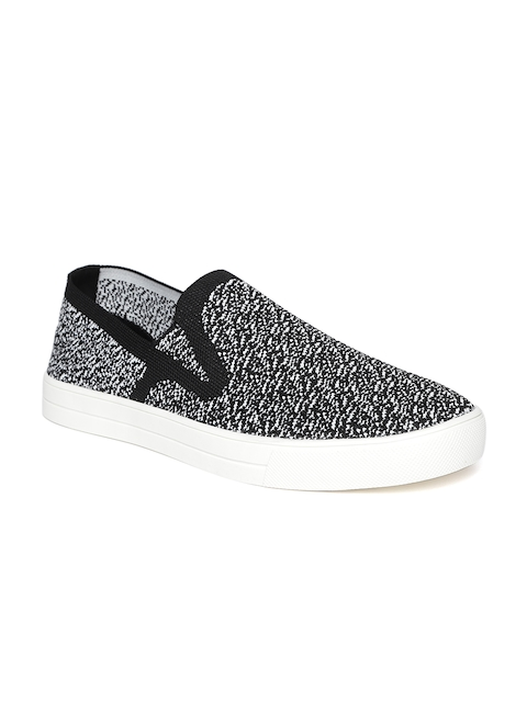 United Colors of Benetton Men Black & White Woven Design Slip-Ons
