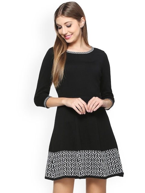 Allen Solly Woman Black Printed Fit and Flare Dress