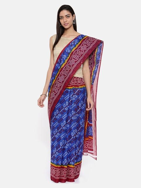 Pavechas Women Blue & Red Mangalagiri Saree