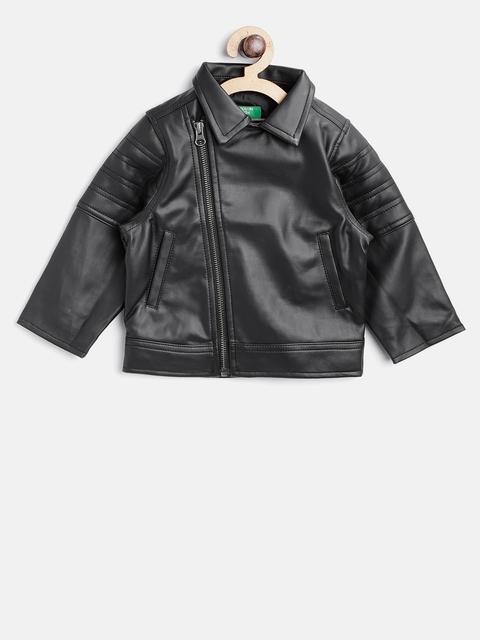 United Colors of Benetton Boys Black Solid Biker Jacket