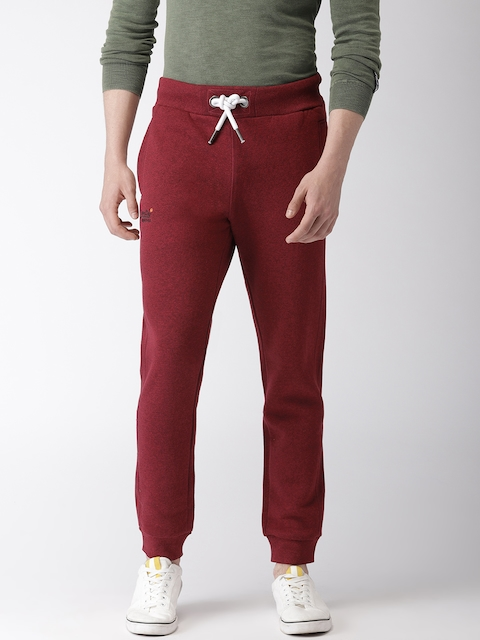 Superdry Men Red Slim Fit Solid Joggers