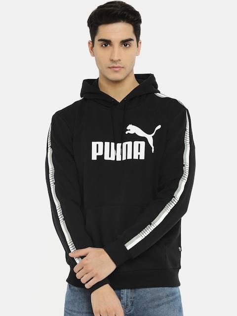 Puma Men Black ELEVATED ESS Tape Printed Hooded Sweatshirt
