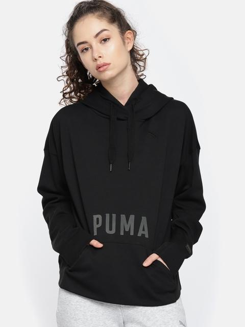 Puma Women Black FUSION Hooded Printed Sweatshirt