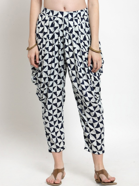 Castle Women Navy Blue & White Printed Dhoti Pant