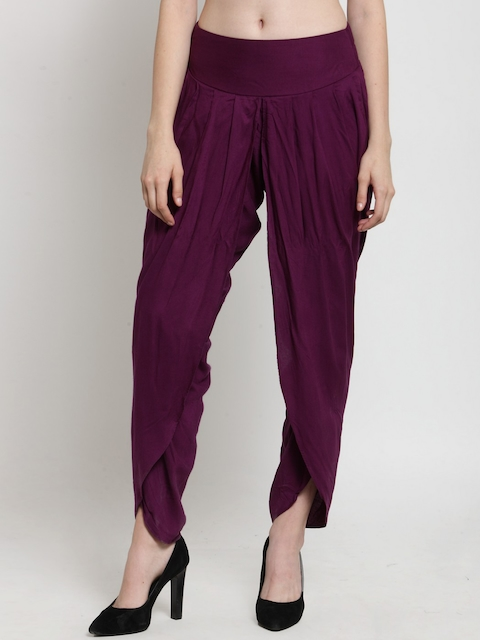 Castle Women Burgundy Solid Dhoti Pant