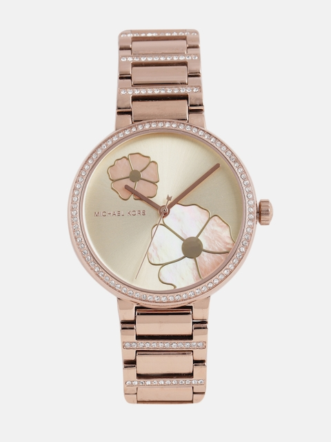 Michael Kors Women Rose Gold Printed Analogue Watch MK3836_OR