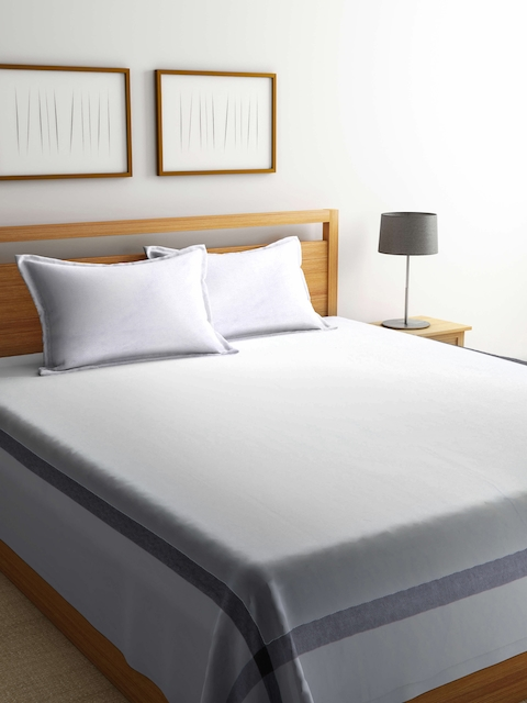 NEUDIS White Solid Handwoven 250 TC Double King Bed Cover with 2 Pillow Covers