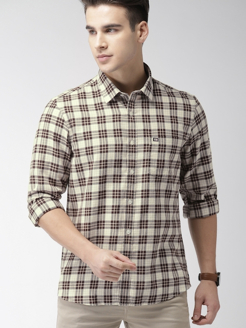 Arrow Sport Men Beige & Brown Slim Fit Checked Casual Shirt