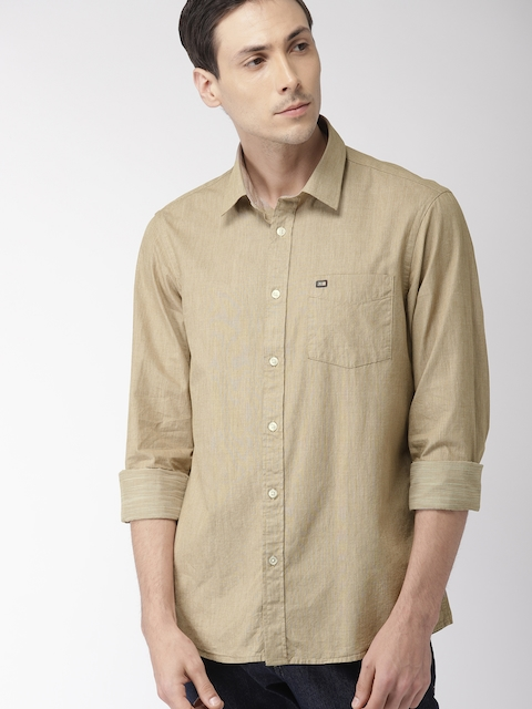 Arrow Sport Men Beige Slim Fit Striped Casual Shirt