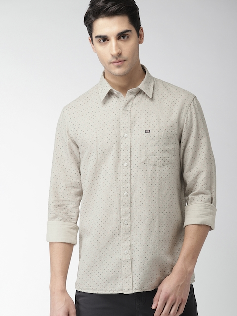 Arrow Sport Men Beige Slim Fit Printed Casual Shirt