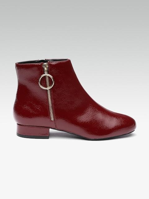 DOROTHY PERKINS Women Maroon Solid Mid-Top Flat Boots