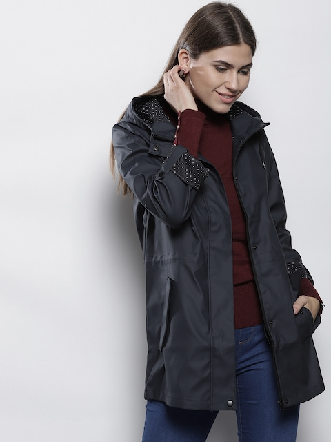 DOROTHY PERKINS Women Navy Solid Hooded Parka Jacket