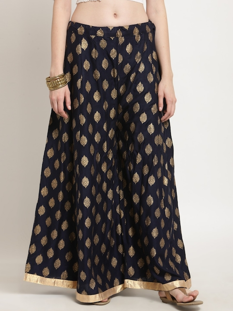 Castle Women Navy Blue & Gold-Toned Printed Flared Palazzos