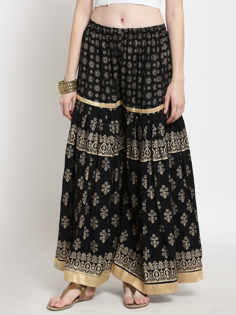 Castle Women Black & Gold-Toned Printed Flared Palazzos