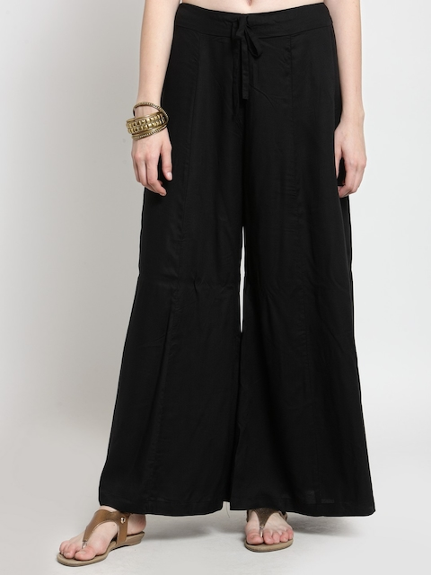 Castle Women Black Flared Solid Palazzos