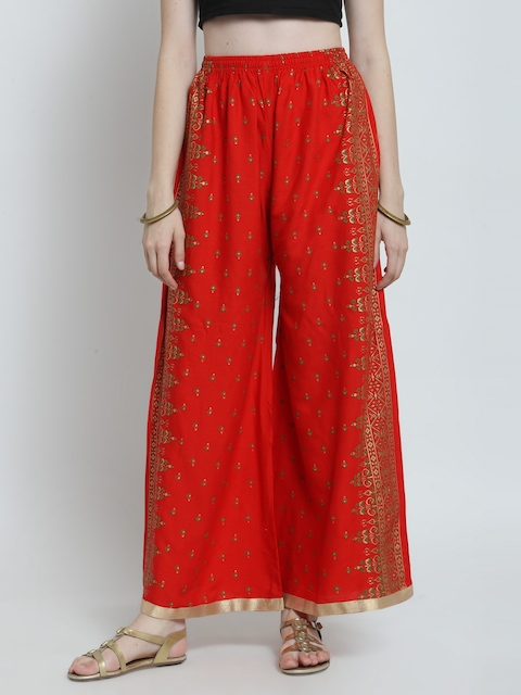 Castle Women Red & Green Printed Wide Leg Palazzos