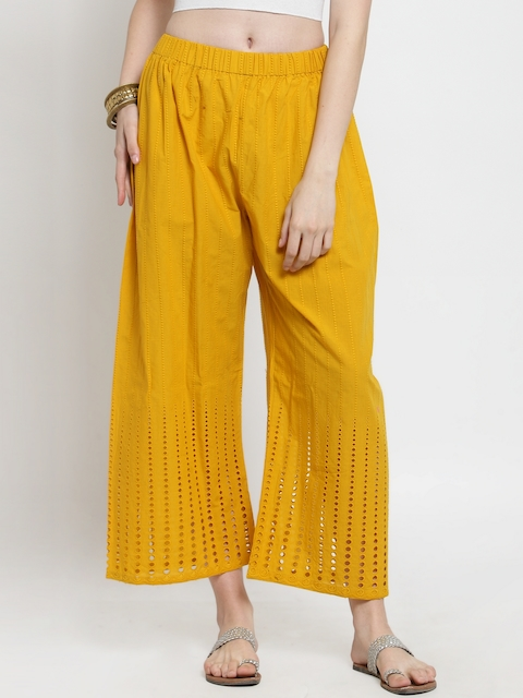 Castle Women Mustard Embroidered Straight Palazzos