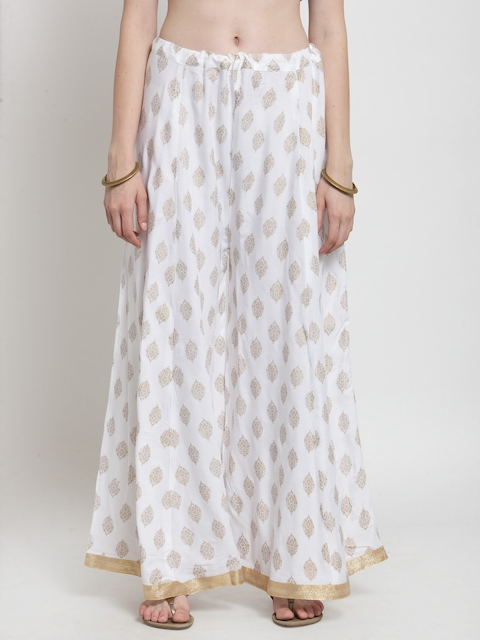 Castle Women White & Gold-Toned Printed Flared Palazzos