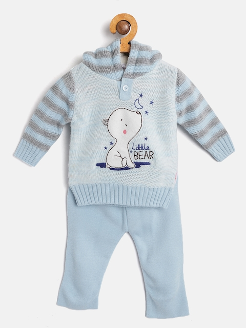Wingsfield Kids Blue Self Design Hooded Sweater with Pyjamas