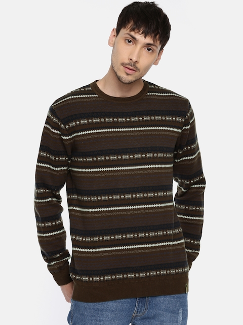 Peter England Casuals Men Brown & Navy Striped Pullover