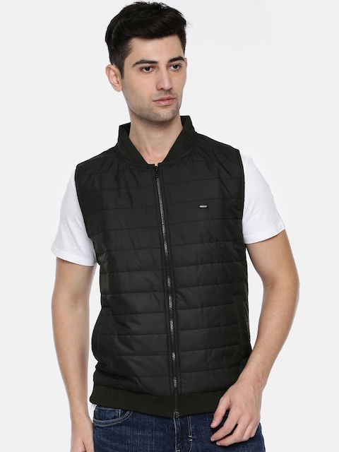 Peter England Casuals Men Black Solid Padded Jacket