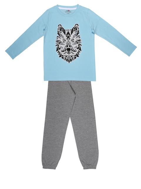 ventra Boys Blue & Grey Printed Night suit