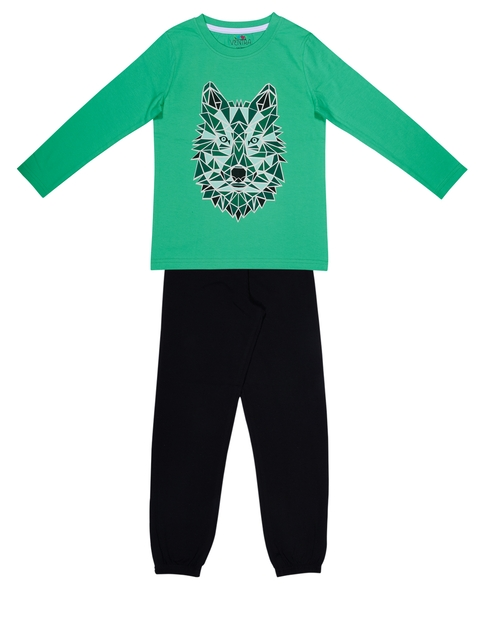 ventra Boys Green & Black Printed Night suit
