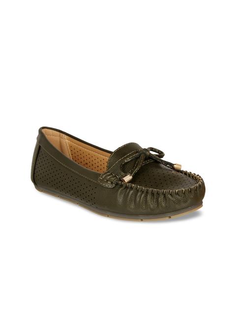 Flat n Heels Women Olive Green Loafers