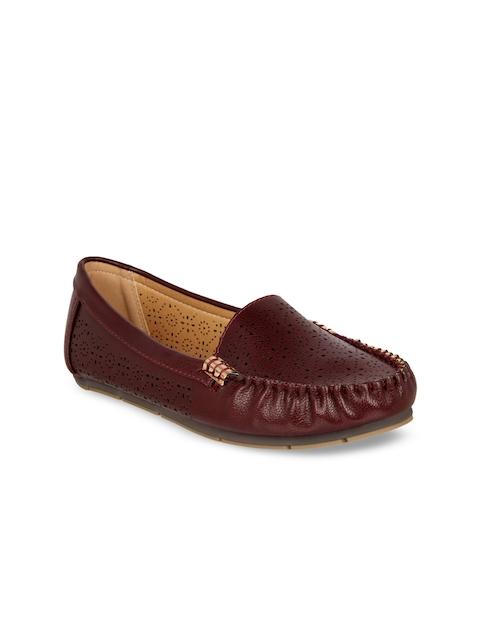 Flat n Heels Women Maroon Loafers