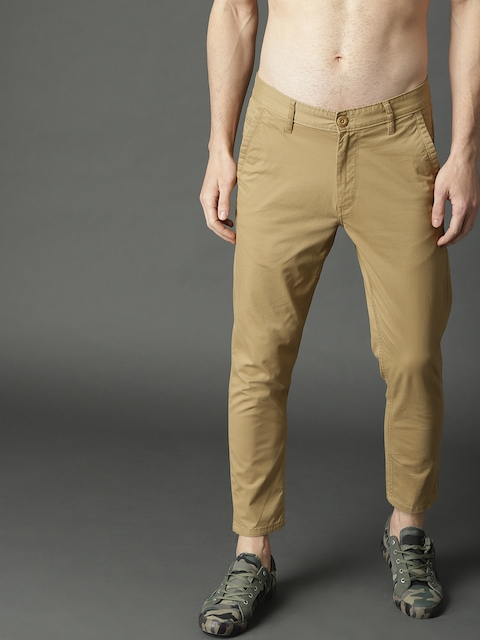 Roadster Men Beige Regular Fit Solid Regular Trousers