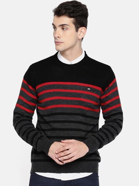 Lee Men Grey Melange & Red Striped Pullover