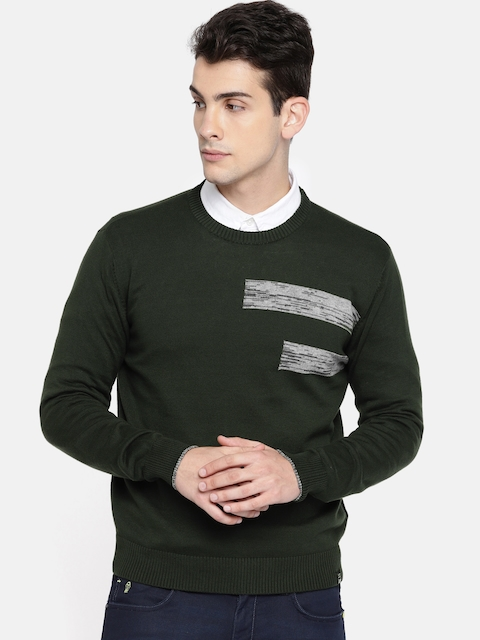 Lee Men Olive Green & Grey Solid Pullover