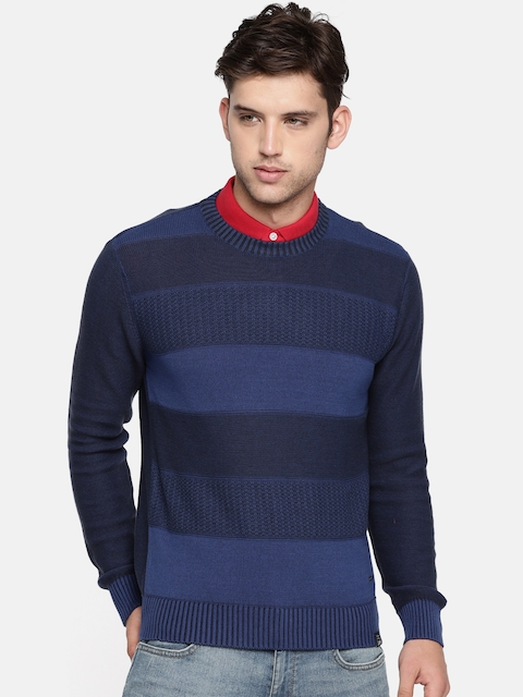 Lee Men Blue Striped Pullover