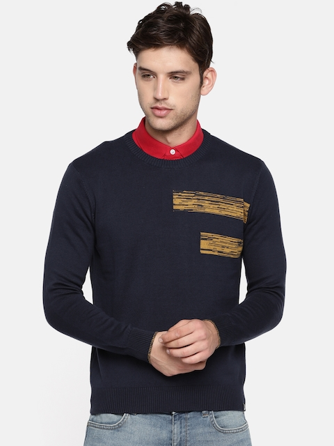 Lee Men Navy Blue & Mustard Yellow Solid Pullover