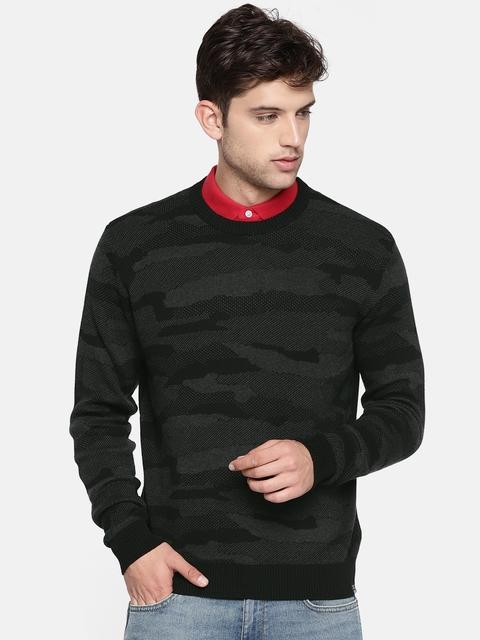 Lee Men Black & Grey Self Design Pullover