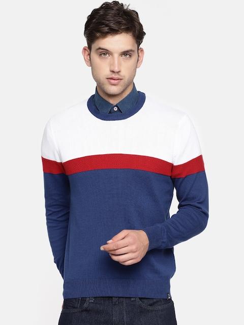 Lee Men White & Blue Colourblocked Pullover