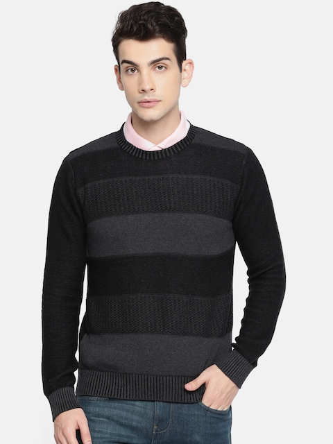 Lee Men Charcoal Grey Striped Pullover