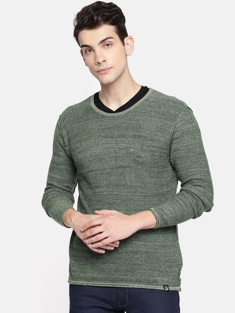 Lee Men Olive Green Solid Pullover