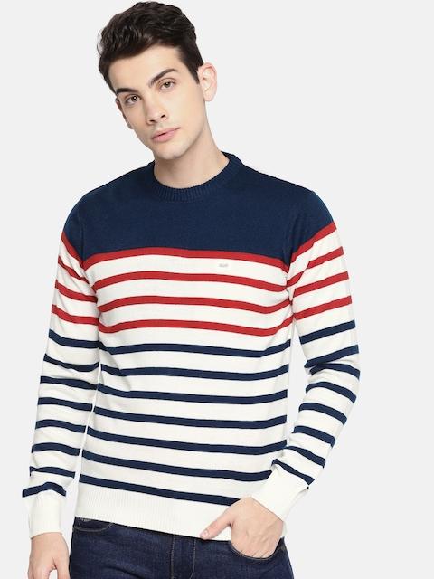 Lee Men Navy Blue & Off-White Striped Pullover