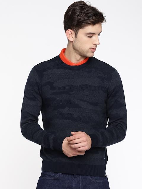 Lee Men Navy Blue & Grey Self Design Pullover