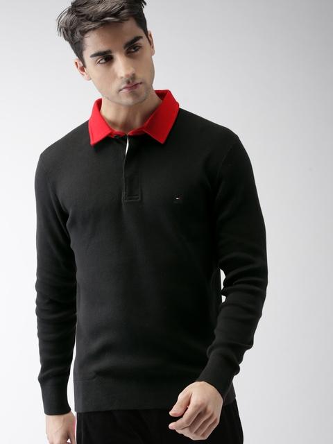 Tommy Hilfiger Men Black Solid Polo Collar LEWIS HAMILTON T-shirt