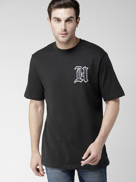 Tommy Hilfiger LEWIS HAMILTON Men Black Solid Round Neck T-shirt