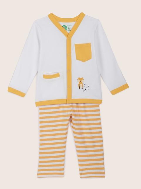 YK Organic Infant Boys White & Yellow Night suit