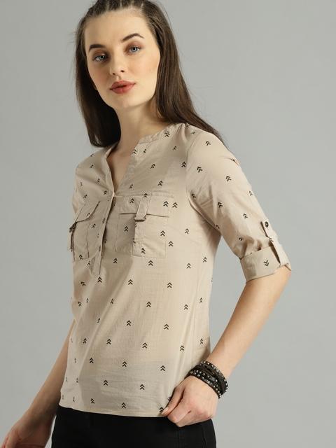 Roadster Women Beige Regular Fit Printed Casual Shirt