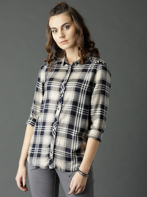 Roadster Women Beige & Navy Regular Fit Checked Casual Shirt