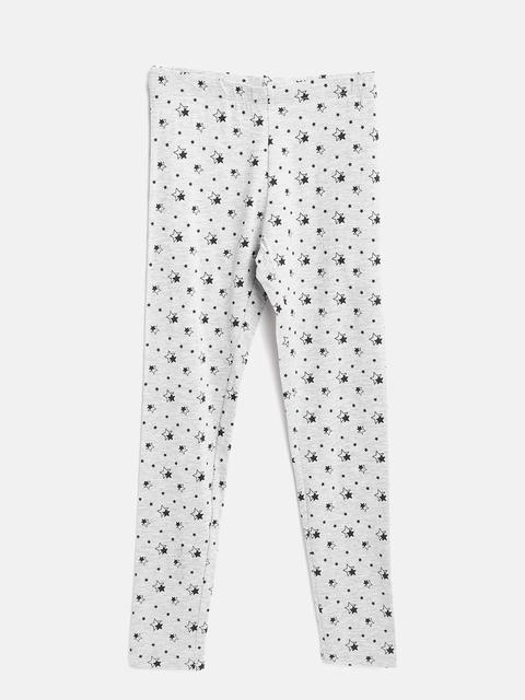 OVS Girls Grey-Melange Printed Leggings