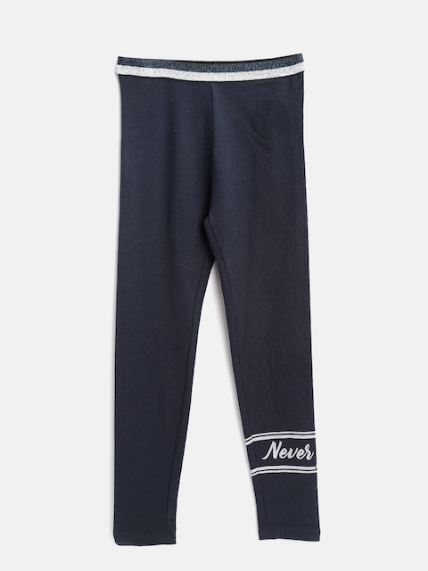 OVS Girls Navy Blue Solid Leggings