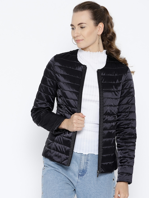 OVS Women Black Solid Padded Jacket
